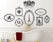 Oh La La Girly Girl French Theme decal set - wall decal - chandelier - frames