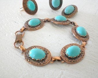Vintage Solid Copper Bracelet Earrings Ring Turquoise Plastic 12K GF Persian Blue Parure Mid Century Costume Jewelry GallivantsVintage