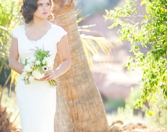 Lace Wedding Gown with Scalloped V Neckline and Cap Sleeves, Custom Made Wedding Dress