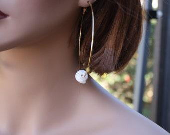 Hawaiian Jewelry Shell Jewelry Puka Shell Earrings Beach Jewelry Hawaii Jewelry Puka Shell Jewelry Seashell Earrings Large Hoop Earrings 016