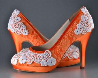 Orange wedding shoes | Etsy