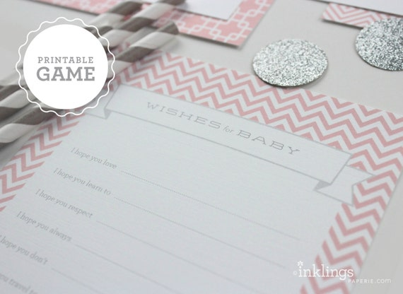 """Printable """"Wishes for Baby"""" Sheet // Choose your color"""