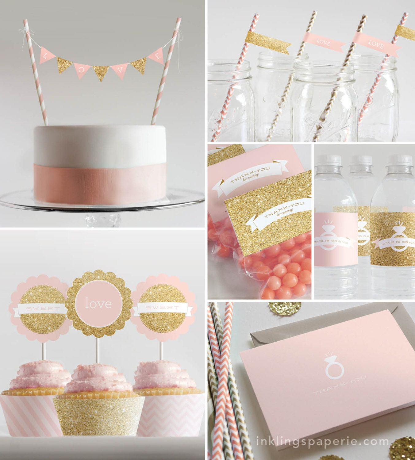 Bridal Shower Decorations Printable Pink Gold