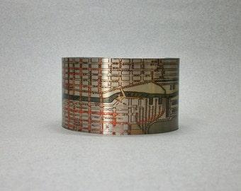 Chicago Illinois Vintage Map Cuff Bracelet Unique Gift Idea for Men or Women