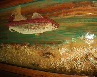 REDFISH OCEAN SCENE painting 4ft. spottail bass on reclaimed pine wood hand painted beach colors great centerpiece unique home art