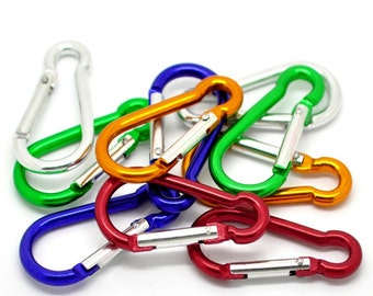 "Aluminum Carabiners (10) in Rainbow Colors (2"" x 1"" ) - Z21"