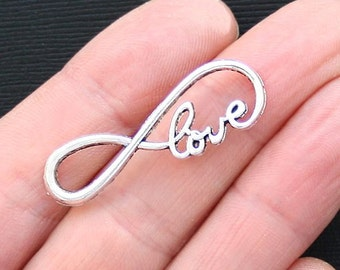 8 Large Infinity Charm Connectors Antique  Silver Tone with Love Script - SC3178