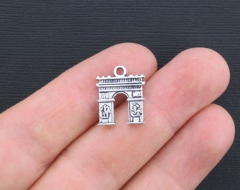 6 Arc de Triomphe Charms Antique Silver Tone 2 Sided - SC1174