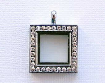 SALE Floating Charm Locket Glass Square Shape with 32 Rhinestones 25mm  - LL20