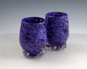 "USA Hand Blown Art Glass Tumblers (sold individually) - ""Lavender Lilac"""