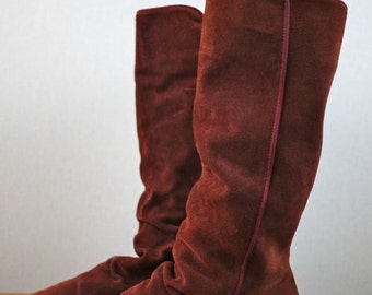 Velvet Suede Maroon Slouch Knee Boot