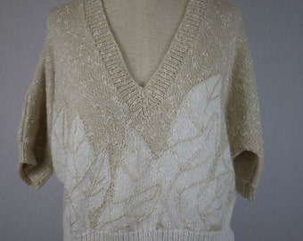 Beige and Ivory Cropped V Neck Short Sleeve Petal Sweater