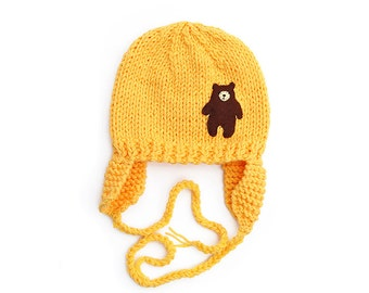 Baby Girls / Boys Hat, hand knitted Yellow with brown Bear Applique, earflaps  - 0-3-6-9-12-18-24 months, 2 T - 3 T - 4 T - 5 T