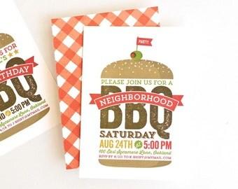 Barbecue Invitation, BBQ Invite, Printed Summer Party Invitation // BBQ BASH