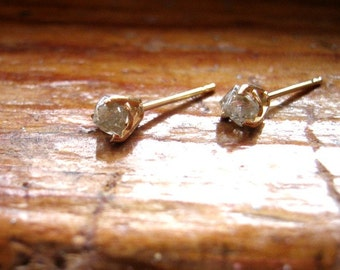 Raw Diamond Crystal Octahedron Natural Rough Silvery Studs .65ctw 14k yellow white gold custom secure screw back handmade  fine jewelry