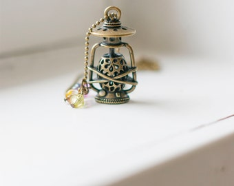 Oil lamp fun charm necklace on ball chain with colorful rainbow beads