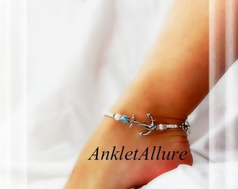 Sail Away Anchor Anklet Boating SailorOcean Blue Crystal Button Pearl Silver Ankle Bracelet