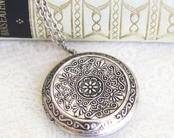 Silver Locket Necklace Large Round Pendant Silver Floral Vintage Style Photo Locket Long Chain Secret Hiding Place Romantic Gift For Her