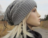 Gray Fair Isle Slouchy Beanie Winter Hat Striped Womens Slouch Tam Grey A1376