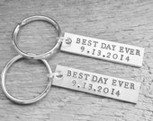 SET of 2 Best Day Ever Couples Key Chain Custom Date Wedding Keychains Hand Stamped Personalized Anniversary Engagement BRIDAL SHOWER