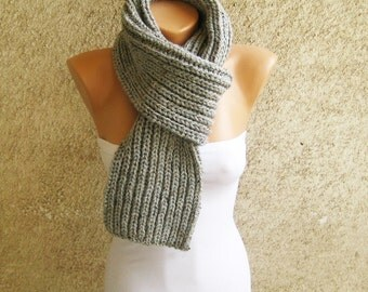 Grey Tweed Scarf Men Long Thick / Knitted Wool blend Ribbed Scarf/ Unisex Winter Accessories / Fall Double face Wrap / Christmas Gift idea