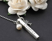 Bar Necklace - Personalized 4 four sided Bar - with cross & pearl - 3 D Sterling silver - Confirmation - Baptism - First Communion