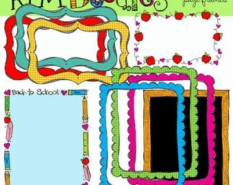 KPM Back to SChool Borders Digital Clip Art COMBO