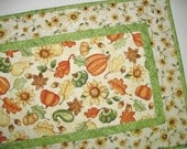Autumn Table Runner Fall Leaves, Pumpkins, Sunflowers fabric from Red Rooster Happy Harvest