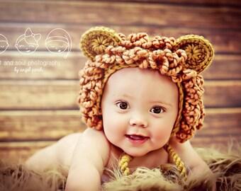 3-6 Month Baby Boy Photo Prop Lion Hat