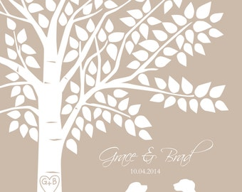 Dog Wedding Sign Dog Lover Guest Book Tree Guest Book Alternative Personalized Wedding Print 16x20 - 130 Signature Keepsake Guestbook Poster