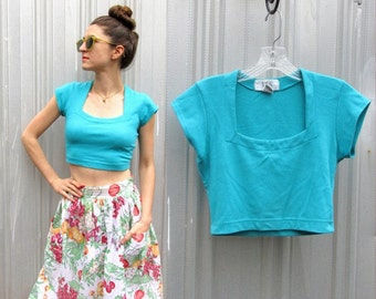 Vintage Cropped Tee Shirt Top in Turquoise / size 4-6