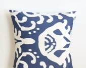 Blue and White Ikat Pillow Cover - 18 x 18 - Coastal Chic Pillow Cover - Modern Ikat