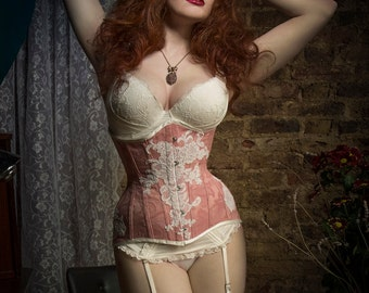 BESPOKE Dusky pink underbust corset with Ivory Lace appliqué