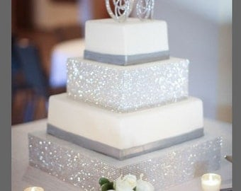 Monogram cake toppers - Swarovski crystal monogram initial cake topper set- Glitz and Glam