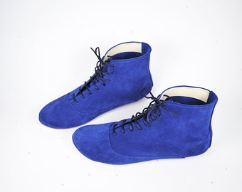 The Royal Blue Leather Handmade Ankle Midi Boots