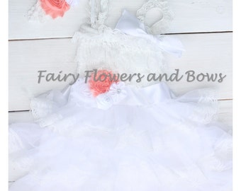 Flower Girl..Wedding...White Rustic Lace Chiffon Dress ....YOU CHOOSE Accent Color.....Sash and Headband...