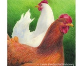 "Two chickens orange & white, hens, farm animals - ""Two of a Kind"" - Blank Note Card - Greeting Card, Occasion, Just Because, Holiday, Couple"