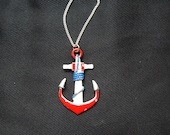 Large vintage 80's red white navy blue painted metal anchor nautical pendant necklace silver chain