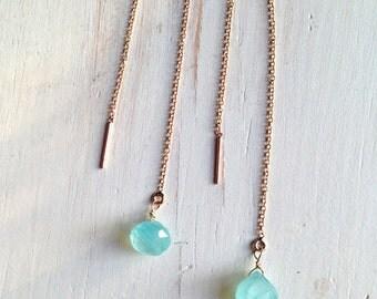 Tiny Blue Chalcedony Tear Drop Chain Earrings