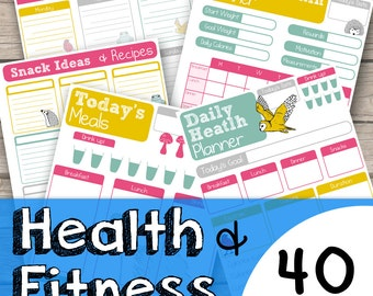 Health and Fitness Planner Printable - Fitness Planner Download - Healthy Eating Planner - Planner for Fitness Lover - Planner Printable