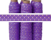 Purple with Metallic Gold Dots - Fold Over Elastic - 5 YARDS