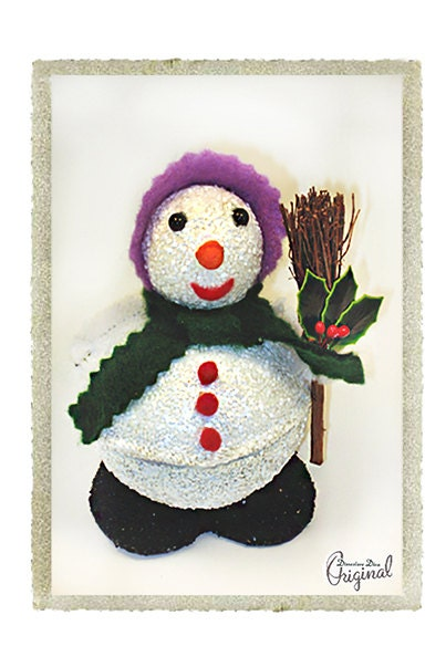 Snowman Snow Woman Vintage Inspired Cotton Head Candy Container Handmade