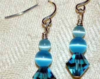 Aqua Blue Sterling Silver & Swarovski Crystal Beaded Earrings