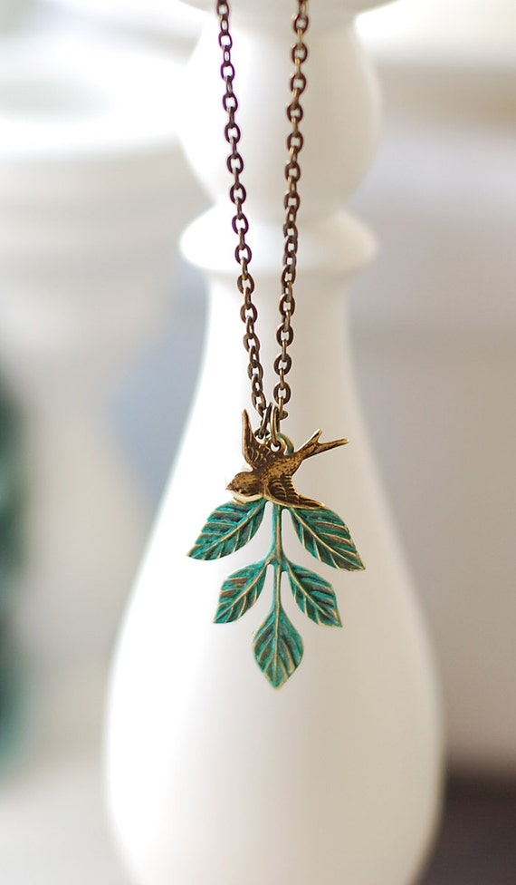 Swallow Bird and Teal Blue Verdigris Patina Leaf by LeChaim