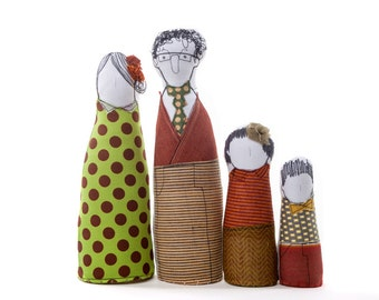 Soft sculptur Family art dolls - parents, son and daughter in green burgundy & mustard gold  dots stripes and plaid ,timohandmade eco dolls