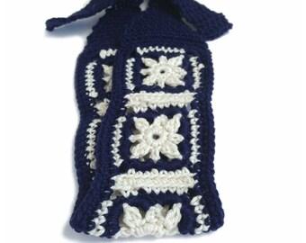 No-Slip Crochet Headband, Boho Hairband In Navy Blue and Ivory White 100 Percent Cotton