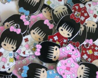 Assorted Kimono Kokeshi Doll - Japanese doll metal charms (4)