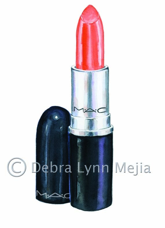 Items Similar To Coral MAC Lipstick Watercolor Print