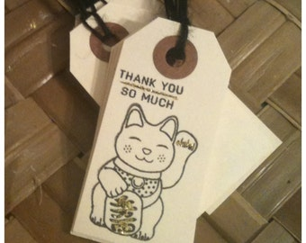 Handstamped Maneki Neko Manekineko Japanese Lucky Cat Black Ink Gold Glitter Small Manila Thank You Tags Set of 12