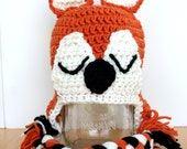 Sleepy fox hat, crochet fox hat, knit fox hat, fox costume, red fox, crochet animal hat, orange and black, 12 month to 4T sizes available